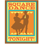 Silhouetted Cowboy Square Dancing With A Woman Clipart Illustration